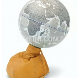 "Zofolli ""Pungiball"" design desk globe on leather base - Amber/Warm Grey - №74"