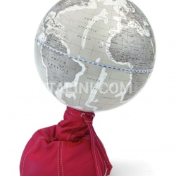 "Zofolli ""Pungiball"" design desk globe on leather base - Scarlet/Warm Grey - №78"