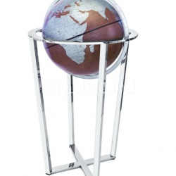 """Basket"" floorstanding globe with chrome base and bonded leather sphere - Brown/Turquoise - №137"