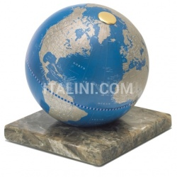 "Zofolli ""Stone"" desk globe on marble base - Metallic Blue - №91"