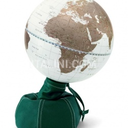"Zofolli ""Pungiball"" design desk globe on leather base - Emerald/White Gold - №76"