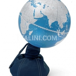 "Zofolli ""Pungiball"" design desk globe on leather base - Jeans/Metallic Blue - №77"