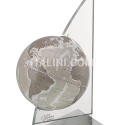 "Zofolli ""Vela"" desk globe on plexiglass frame - Warm Grey - №83"