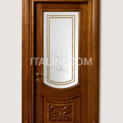 LUIGI XVI 4014/QQ/INT/INF/V Antique-effect Siberian walnut finish with carved lower front panel and AV-23 glass Classic Wood Interior Doors - №37