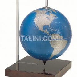 "Zofolli ""Quadra"" desk globe on burl base - Metallic Blue - №94"