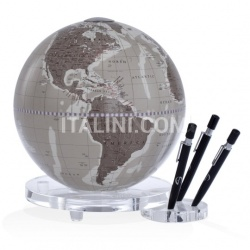 "Zofolli ""Balance"" desk globe with plexiglass base penholder - Warm Grey - №80"