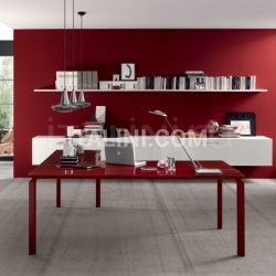Anyware desk with Rosso Scuro glass lacquered, Amarena frame. - №38