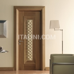 MONDRIAN 913/QQ/06 Natural Italian walnut quilted leather inserts 06 Modern Interior Doors - №215