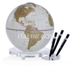 "Zofolli ""Balance"" desk globe with plexiglass base penholder - White/Gold - №81"