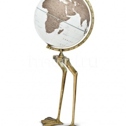 """Papero"" floorstanding cartoon globe on aluminum base in antiqued gold foil finish - №135"