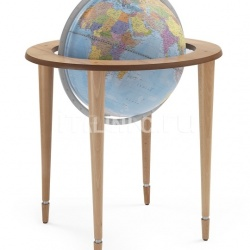 "Zofolli ""Amerigo Vespucci"" contemporary style floorstanding globe - Natural/Light Blue Political - №128"
