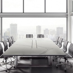 45/90 White Leather Meeting Table - №8