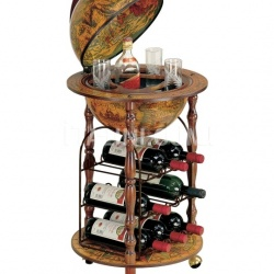 """Ottante-Cellar"" small floor bar globe with metal wine rack - №159"
