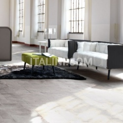 Inattesa sofa with Antracite back and Bianco seat with Verde Pistacchio pouf. - №127
