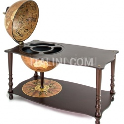 """Botticelli"" coffee table with globe drinks cabinet - Rust - №27"