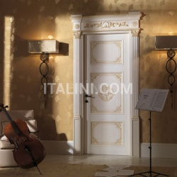 LOUVRE 8015/QQ/INT casing with cyma Louvre glazed white-ocher with old-looking effect Classic Wood Interior Doors - №66