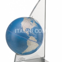 "Zofolli ""Vela"" desk globe on plexiglass frame - Metallic Blue - №85"