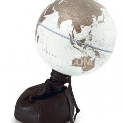 """Pungiball"" design desk globe on leather base - Chocolate Brown/White Gold - №75"