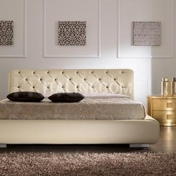 Saber LUNA line, gold leaf, mosaic hendle _ VISION bed, quilted leather with storage, butter-colour leather - №57