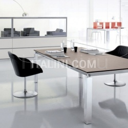 Han conference table with Rovere Moro desktop and aluminium brill structure. - №78