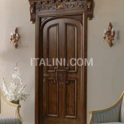"HERMITAGE 6016/TQR/INT.  Tulipwood antique dark gold walnut finish with ""Fleur-de-lis"" carving Classic Wood Interior Doors - №39"