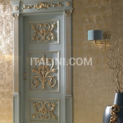 PALAZZO PETERHOF 7015/QQ/INT casing with cyma Louvre lacquered shaded blue with gold topcoat Classic Wood Interior Doors - №68