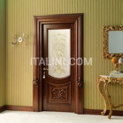 LUIGI 4014/QQ/INT/INF/V  in Siberian walnut antique fin., with lower carved embossment and T121 glass Classic Wood Interior Doors - №36