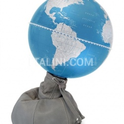 "Zofolli ""Pungiball"" design desk globe on leather base - Stone Grey/ Metallic Blue - №79"