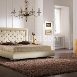 Saber LUNA line, gold leaf, swarovski handle _ CHIC bed, quilted leather, swarovski, butter-colour leather - №55