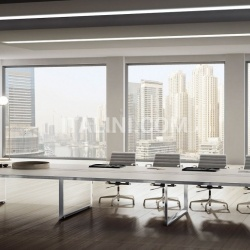 45/90 White Leather Meeting Table - №1