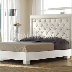 CHIC  bed quilted leather white color, bed-frame white ash-wood - №30