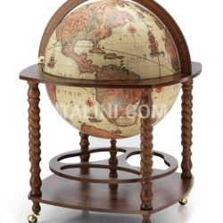 "Large bar globe with spiral legs and wheels ""Caronte"" - Safari - №63"