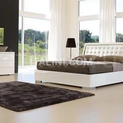 Saber Opera line _ Elite bed white lacquer/steel with storage - №42