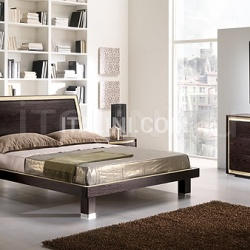 KUBE  line _ FUSION bed, coffee-colored ash, ivory leather - №41