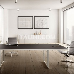 45/90 White Leather Meeting Table - №10