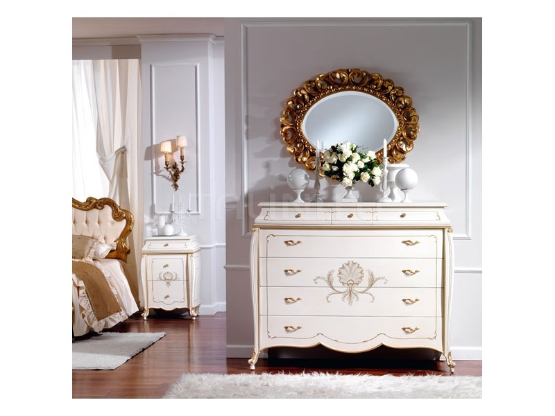 Wooden bedside tables Bedroom  - OLIMPIA B / Ivory lacquered nightstand - №59