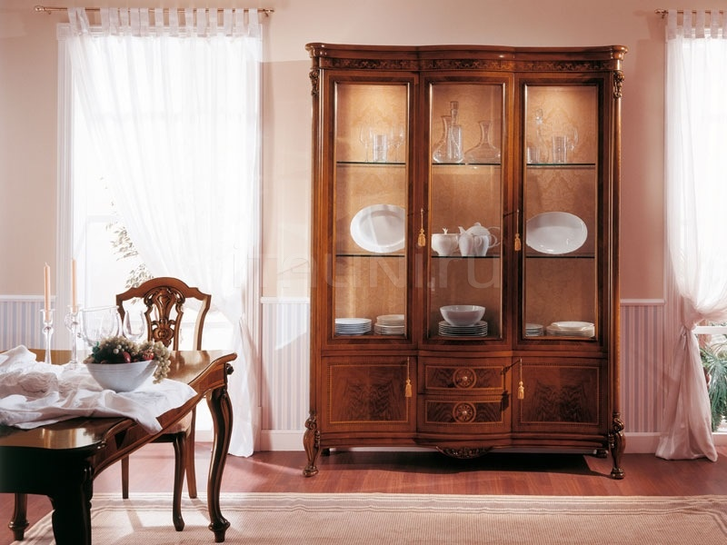 Classic display cabinet Library  - ROYAL NOCE / Showcase with 3 doors - №77