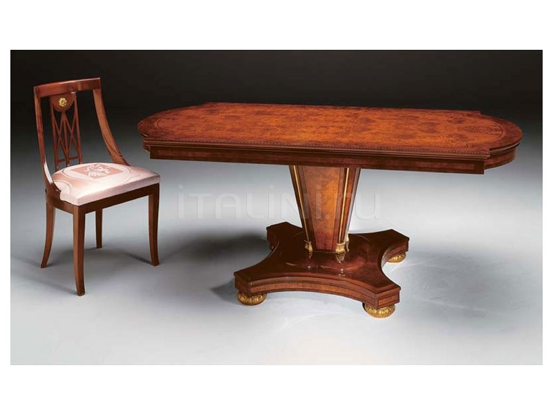 Preciously decorated table Antiques shop  - IMPERO / Dining table with base B - №34