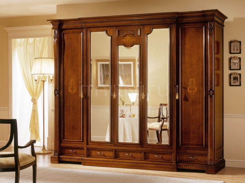 Wardrobes Luxury hotel  - REGINA NOCE / 5 doors wardrobe (3 doors central mirror) - №65