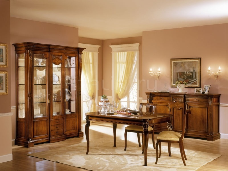 Showcase in decorated wood Sitting room  - REGINA NOCE / Showcase 2 doors with fixed central body - №70