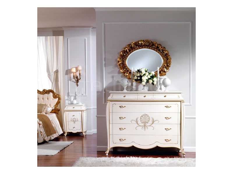 Classic style units with drawers Hotel  - OLIMPIA B / Ivory lacquered chest of drawers - №58
