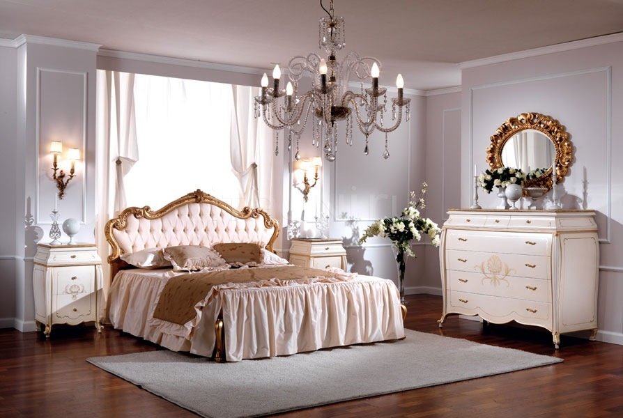 Wooden bed with decorated headboard Double bedroom  - OLIMPIA B / Double bed with upholstered headboard - №57